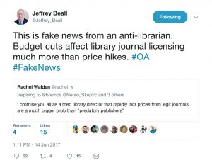 """This is fake news from an anti-librarian. Budget cuts affect library journal licensing much more than price hikes. #OA #FakeNewsJeffrey Beall added,"""